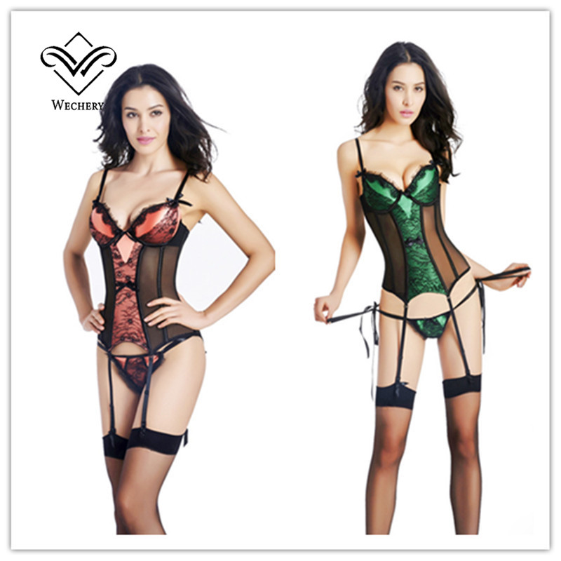 Image 3 - Wechery Steampunk Corset Sexy Gothic Push Up Bustiers Slimming Waist Trainer Overbust Korset Hollow Out Sexy Leagerie Party Tops-in Bustiers & Corsets from Underwear & Sleepwears