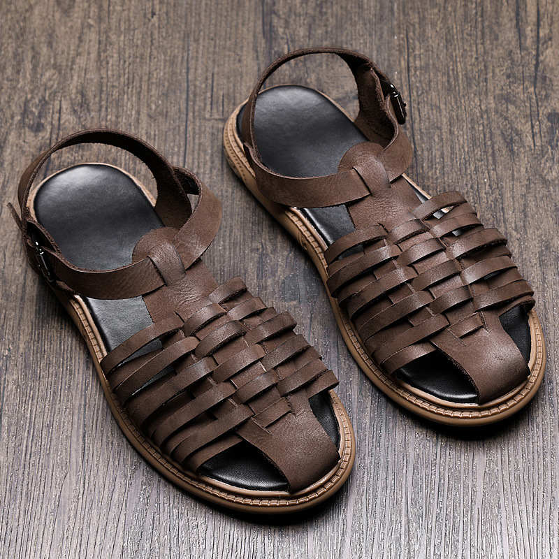 summer Genuine Leather Roman sandals male leather casual shoes beach shoes men gladiator sandals summer cowhide slippers in Men 39 s Sandals from Shoes