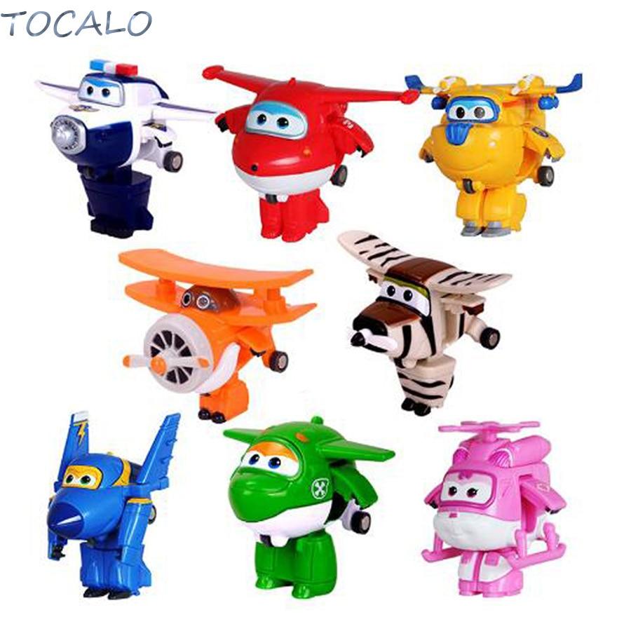 4Types Mini Plane Toy AnimationAction Figure Transforming Robot Airplane Gift