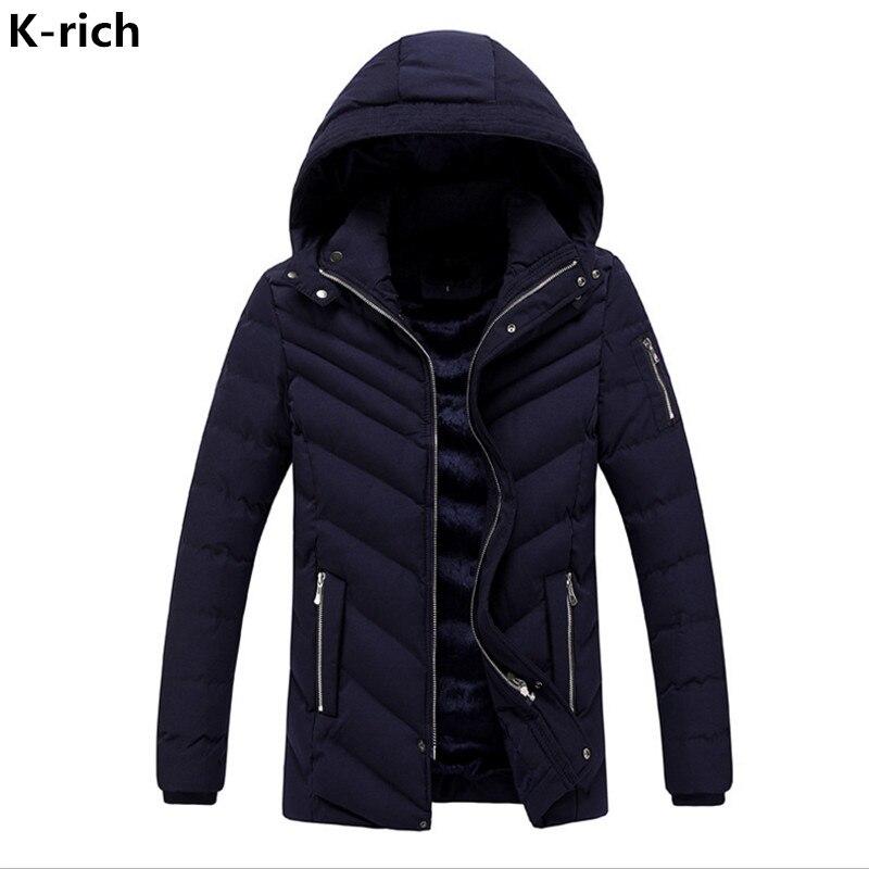 K-rich Men Winter Plus Fleece Jacket Coat Warm Parka Man Wadded Jacket Fashion Striped Solid Hooded Park Male L-3XL boglioli k jacket пиджак