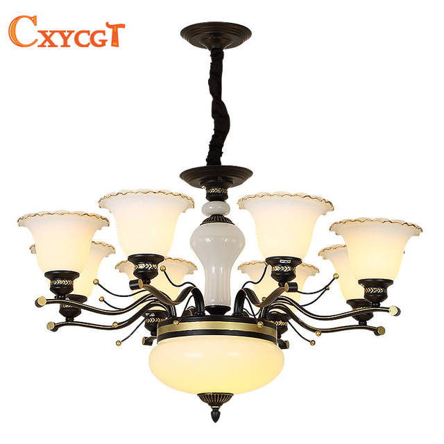 American Style Glass Jade Chandelier For Living Room Dining Bedroom Kitchen Simple Hanging Iron Pendant