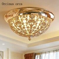 European Style Warm Circular Crystal Ceiling Lamp Living Room Balcony Modern Minimalist Creative Golden LED Ceiling