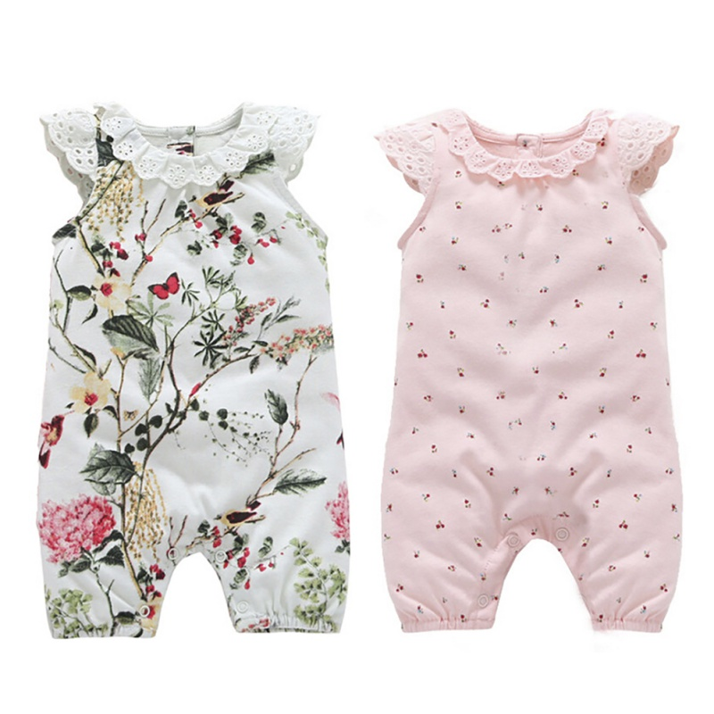 Newborn Baby Girl Princess Rompers Lace Flowers Jumpsuits Girls Clothes for Newborn Summer Baby Body Suits