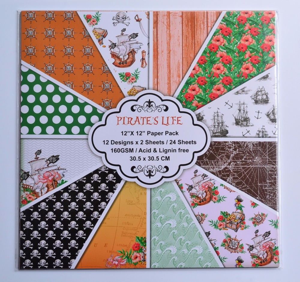 DIY Album Photo Scrapbooking set Pirates Life  Decorative Papers Craft paper  12inch X 12 inch  Single Side Printed 24 pcs/Set