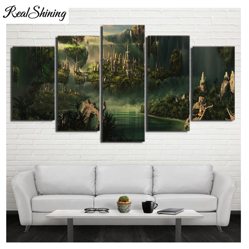 REALSHINING diy 3d Diamond embroidery full square 5pcs Lord Of Rings Castle 5d mosaic diy diamond