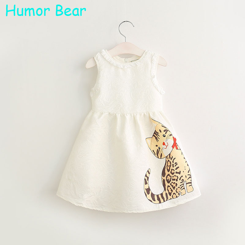 Humor Bear 2017 Summer Girls Clothes Cartoon Cat Girls Clothes Baby Girls Dress Party Dresses Princess Dresses For Kids Clothes girls dresses 2017 kids summer dresses for girls clothes short sleeve 100