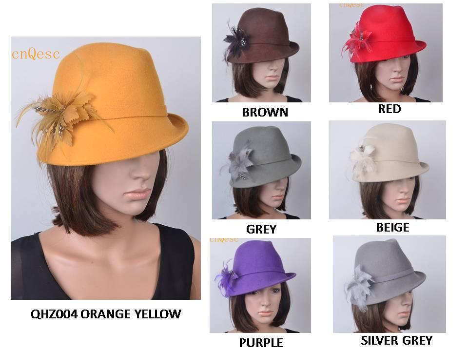 100% Damen Derby Hut Wollfilz Hut Für Winter Kirche Derby. Orange Grau Beige Gelb, Lila Braun Rot Silber