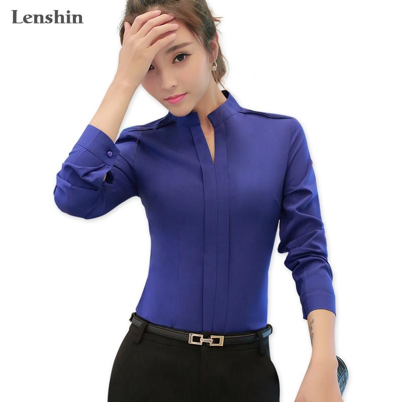 Lenshin modra majica Ženska oblačila Office bluza z V-izrezom - Ženska oblačila