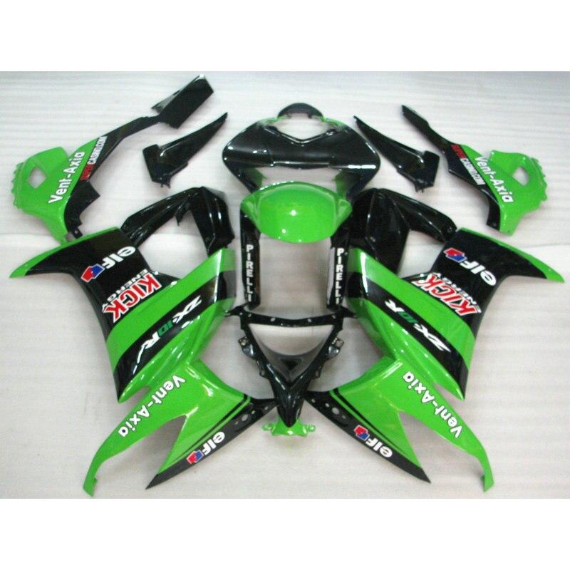 New Cheap Motorcycle factory body fairing for 2008 2009 2010 Kawasaki ZX10R green black Fairings set Ninja ZX-10R 08 09 10