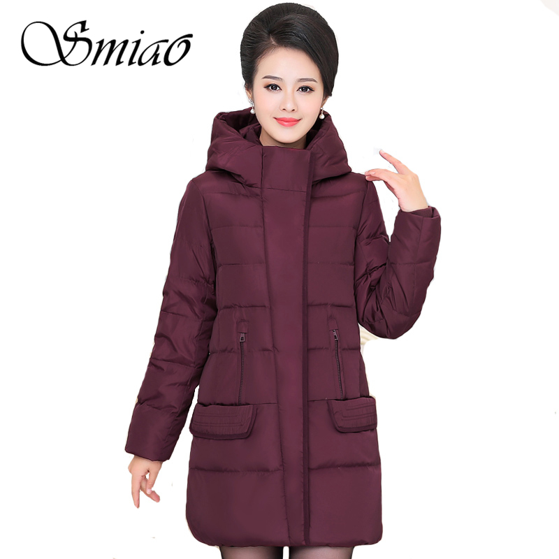 Smiao 2017 Middle-aged Women Winter Long Down Jacket Hooded Plus Size Overcoat Female 90% White Duck Parka Warm Outwear Coat 4XL womensdate 2017 new arrival winter women 90% white duck down jacket slim short coat plus size duck down purple jackets parka