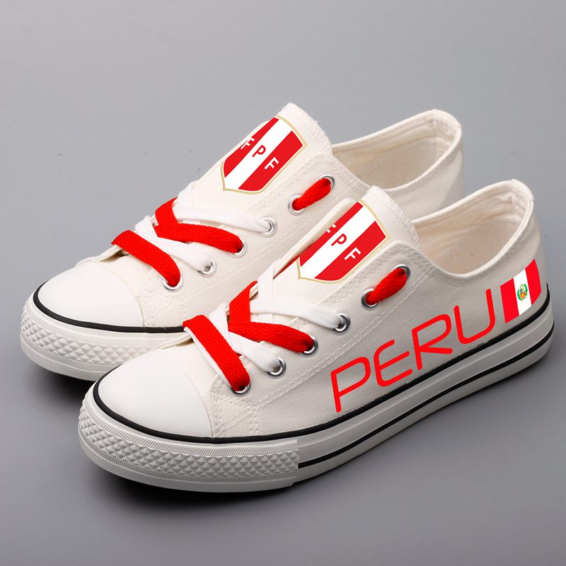 Custom Printed Peruvian Canvas Shoes Design Peru National Low Top White Flat Shoes Men Casual Walking Shoe Zapatos brand quality the walking dead canvas shoes printed women casual flat shoes diy couples and lovers valentine gifts graffiti shoe