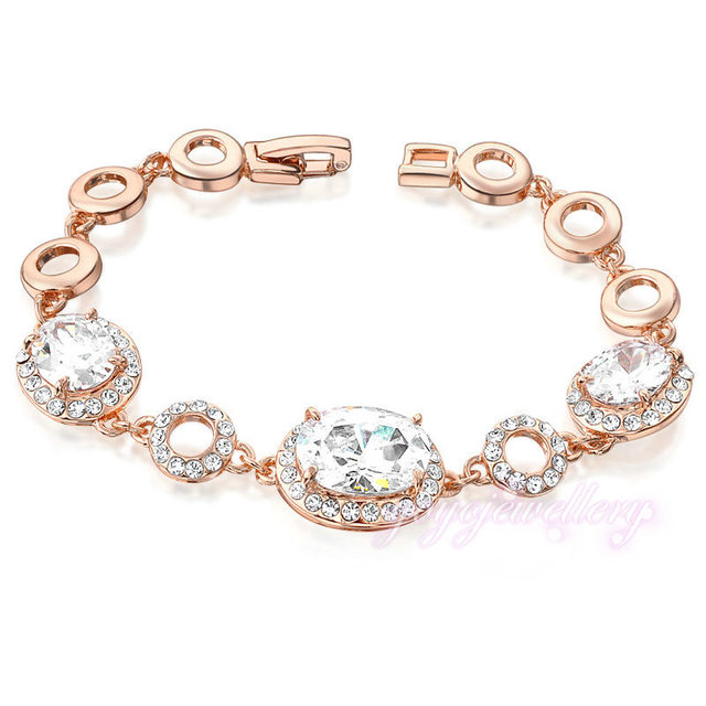 New Fashion White Clear  Crystal Bracelet  Rose Gold Plated Bridal Jewerly B822