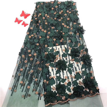 Luxury 3D flower French tulle lace cloth for wedding/party dress nice net lace fabric with beads PDN327(5yards/lot)