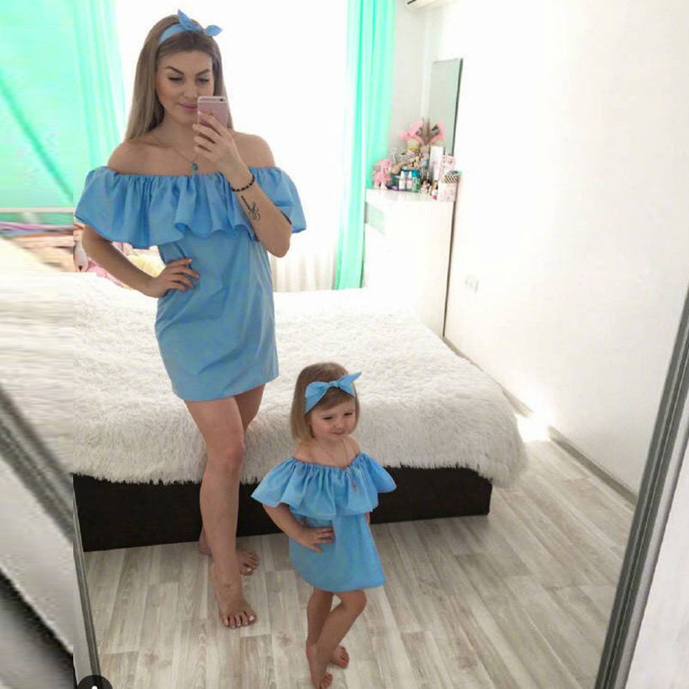 family mommy and me summer dress women's beach sexy off