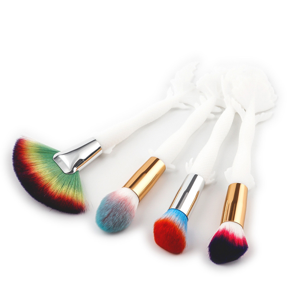 Best Deal New Good Quality 4PCS Fish Handle Cosmetic Makeup Brush Lip Foundation Loose Powder Brush Eyeshadow Brush outtop best deal new good quality 9pcs cosmetic brush makeup brush sets kits tools 1 set gift