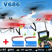 (With two batteries) Original WLtoys V686G (FPV Version) 4CH Drone Qudcopter With 2MP HD Camera+ Monitor RTF