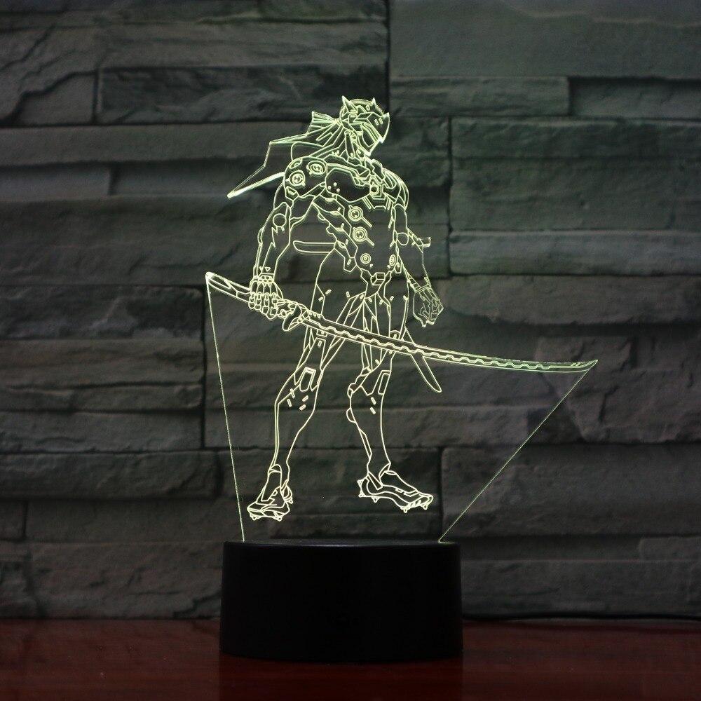 С рисунком из аниме 3D Оптические иллюзии Таблица Light Настроение лампы сенсорный пульт Управление 7 цветов домашний свет дети подарок челнок...