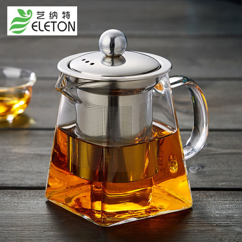 ELETON Glass teapot high boron silicon fair pot stainless steel tea pot filter screen heat resistant