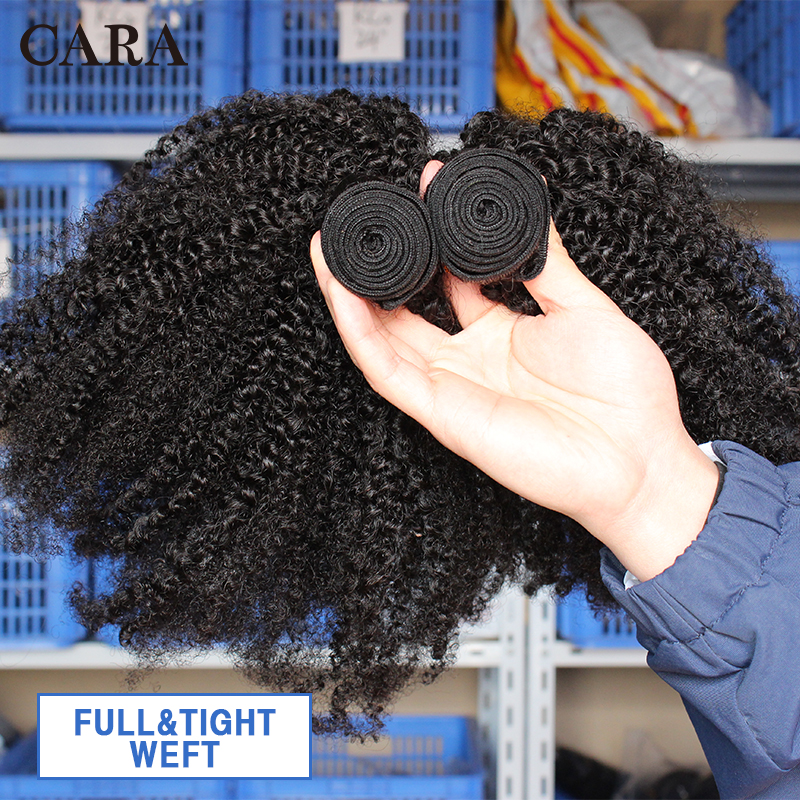 Image 4 - Mongolian Afro Kinky Curly Hair Human Hair Bundles 4B 4C Hair Weave Remy Natural Human Hair Extension CARA Products 1&3 Bundles-in Hair Weaves from Hair Extensions & Wigs
