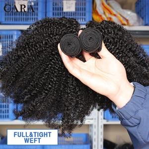 Image 4 - Mongolian Afro Kinky Curly Hair Human Hair Bundles 4B 4C Hair Weave Remy Natural Human Hair Extension CARA Products 1&3 Bundles