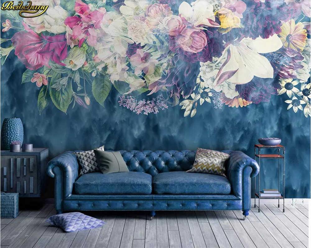 Beibehang カスタム壁紙北欧ミニマルレトロ抽象ローズ花のベッドルーム