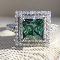 Princess Moissanite Engagement Ring 3 Carat Green Moissanite Lab Diamond Accent Stones 14K White Gold Wedding