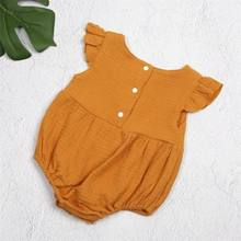 Newborn Infant Kids Baby Girls Romper Flare Sleeve Orange Jumpsuit Clothes Outfits 0-24M(China)