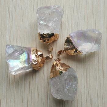 2017 wysokiej jakości gorąca sprzedaż naturalny kryształ nieregularne wisiorki do tworzenia biżuterii 4 sztuk partia hurtownie darmowa wysyłka tanie i dobre opinie moda KRYSZTAŁ TRENDY fanren STAINLESS STEEL slide Unisex Irregular Gold Plated