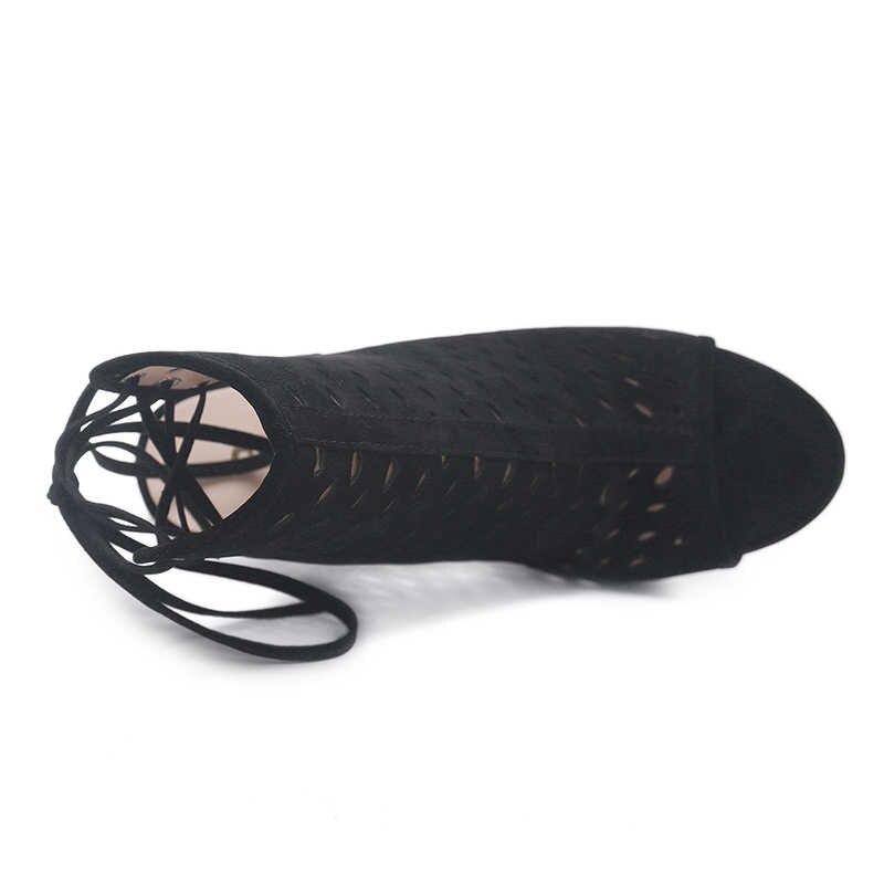 WETKISS Yaz Gladyatör Çizmeler Kadın Yüksek Topuklu Peep Toe ayak Bileği Slingback Çizmeler Seksi Moda Akın Ayakkabı Bayanlar Stiletto Ayakkabı