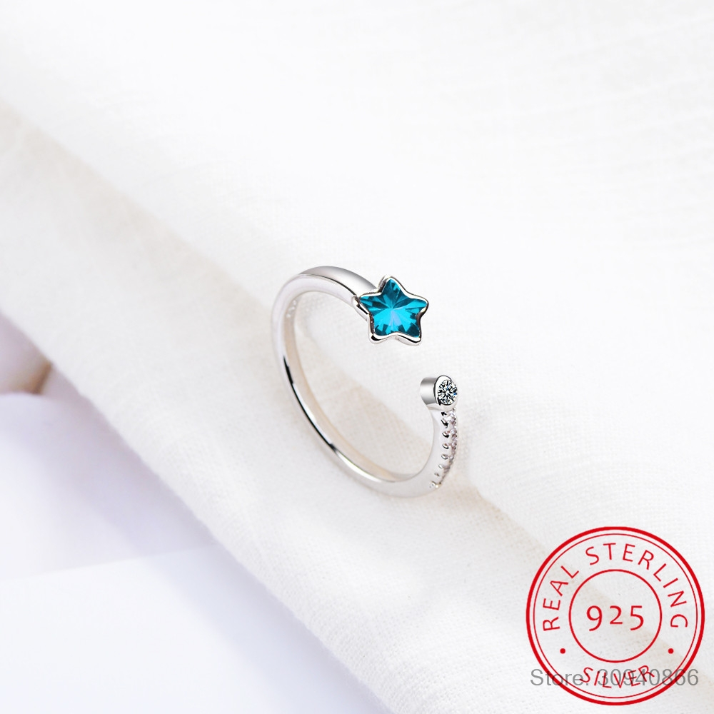 Blue Crystal Star Opening Ring For Women Girl Gift 925 Sterling Silver Micro Zirconia Ring Anillos Anel S-R368
