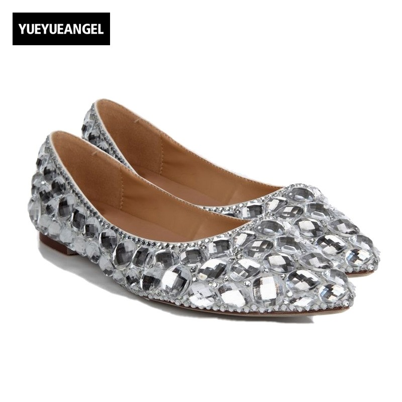 New Arrival Women Pointed Toe Slip On Comfortable Drees Flats Shoes For Women Crystal Lady Wedding Shoes Silver Rhinestones 2017 summer new fashion sexy lace ladies flats shoes womens pointed toe shallow flats shoes black slip on casual loafers t033109