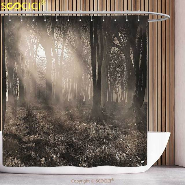 Merveilleux Polyester Shower Curtain Gothic Decor Photo Of Dark Forest Scenery With  Sunbeams And Fog Vintage Nostalgic