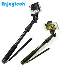 Aluminum Alloy Monopod for Gopro hero Xiaoyi Sjcam Action Cameras Extendable Selfie Stick for Iphone Xiaomi Android Phones(China)