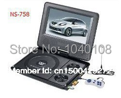 ФОТО High Quality 7.8 inch Portable DVD Player / TV/FM Radio/ MP3/ MULTI-SD card Slot/ GAME+CD+Controller with free shipping
