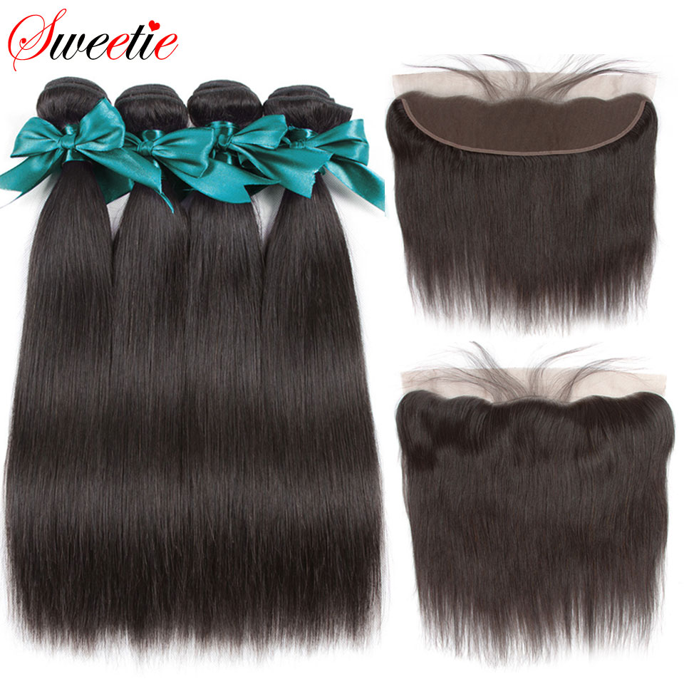 Sweetie Hair Straight Human Hair Bundles With Frontal Brazilian Hair Weave Bundles With Closure Nonremy 3