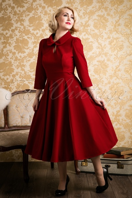 women vintage 50s red velvet swing dress peter pan collar 3 4 sleeve midi  dresses plus size elegant rockabilly pinup vestidos 554a0e47a442