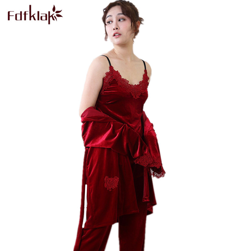 Fdfklak Gold velvet two piece pajamas set 2018 autumn winter lace splice large size sleepwear pyjamas women pajamas home wear