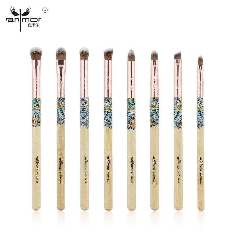 Anmor 8 PCS Eye Shadow Brosses de Maquillage Kit Professionnel Pinceaux de Maquillage Bambou Cosmétiques Brosse Ensemble
