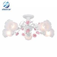 Shustar Romantique Rose Rose Fleur E27 Ampoule Lustre Pastorale Style 90 V-220 V Belle fille de mariage Éclairage En Cristal lampe d'éclairage