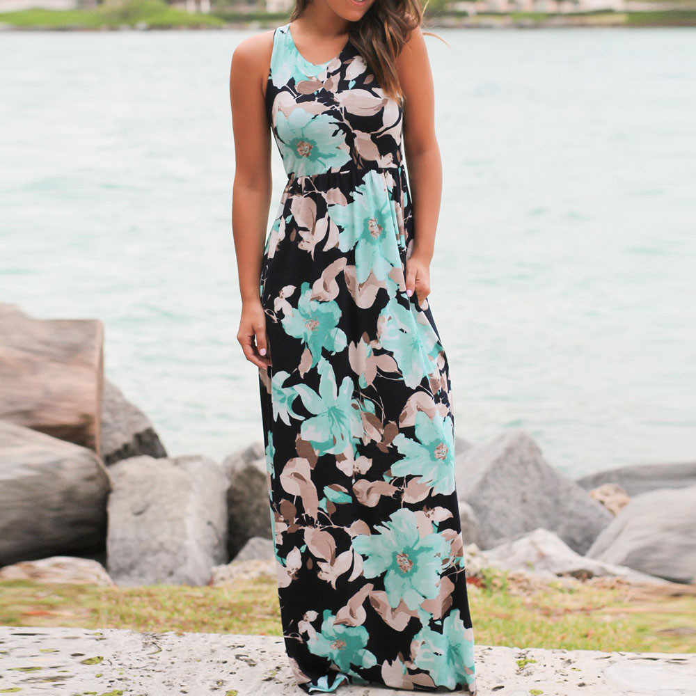 d4418be082f0 ... Summer Casual Clothing Sexy Womens Sleeveless Beach Long Dress Elegant Ladies  Boho Floral Printed Maxi Party ...