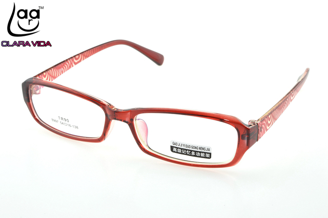 75dd81b865b TR90 Ultra Light Red Pattern Women Designer Glasses Frame Custom Made  Optical Prescription reading Glasses Photochromic