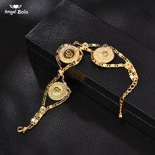 Długość 24CM turcja moneta bransoletka dla kobiet złoty kolor turcy Simgesi Osmanli Turasi muzułmanin Islam bransoletka arabska biżuteria afryki