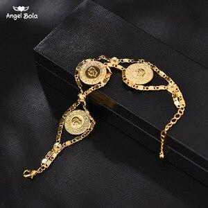 Image 1 - Length 24CM Turkey Coin Bracelet for Women Gold Color Turks Simgesi Osmanli Turasi Muslim Islam Bangle Arab Jewelry African