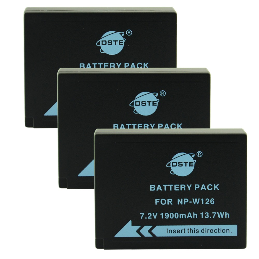 DSTE 3 PCS NP-W126 np-w126 NP-W126S np-w126s Caméra Batterie pour Fuji HS50 HS35 HS33 HS30EXR XA1 XE1 X-Pro1 XM1 X-T10