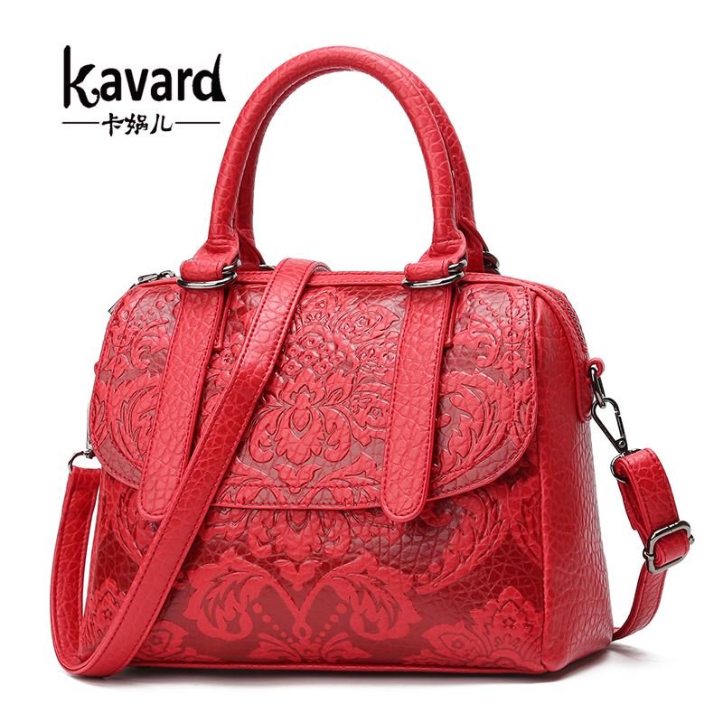 Kavard Handbag Woman Pu Bags Handbags Women Famous Brands Chinese Style Shoulder Bag With Flower Small Tote For Girl 2017 Bags f 10 color choose socialite style pu leather bag for women fashion women shoulder bags pressed 8 pattern handbag famous brands