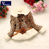 2016 Autumn And Winter Leopard Fur Coat Girls Fake Fur Collar Girls Casual Clothes Baby Thick