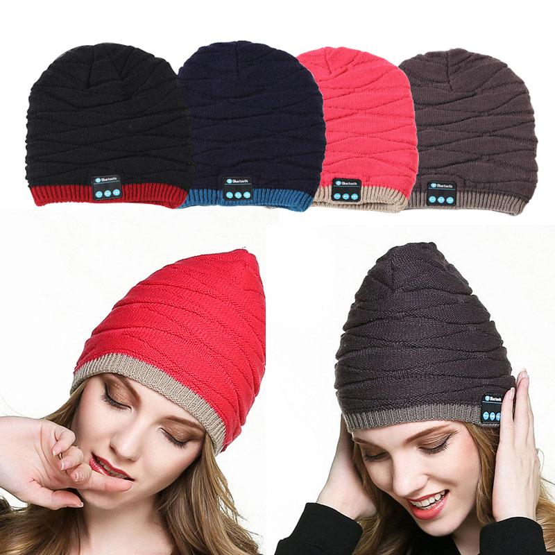 Wireless Bluetooth Smart Cap New Fashion Men Women Unisex Winter Warm Hat Smart Cap Headset Headphone Speaker Mic for iphone 7 8