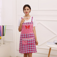 Butterfly Pattern Women Kitchen Aprons With Pocket Grid Antifouling Eating Cooking Household Cleaning Chef Accessories Supplies