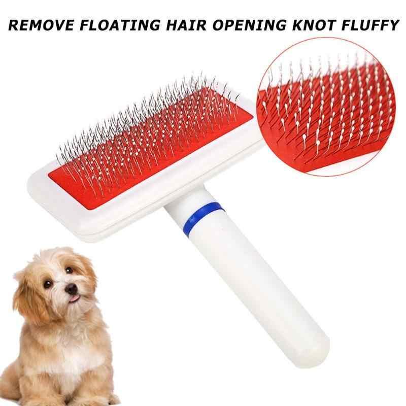 Cepillo de aseo para mascotas Masaje cojín de goma para el pelo largo y corto Peine de gato y perro