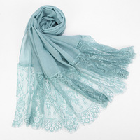 L030 Lace wrap scarf stylish pure color soft stitching fashion scarf shawl